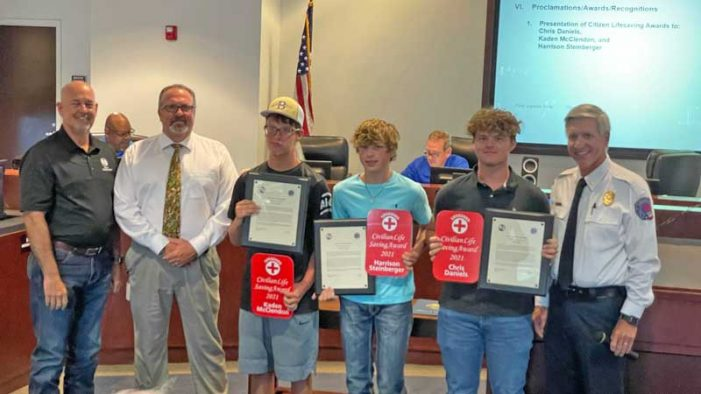 Rockwall Fire Department honors three young men for saving life of drowning boy