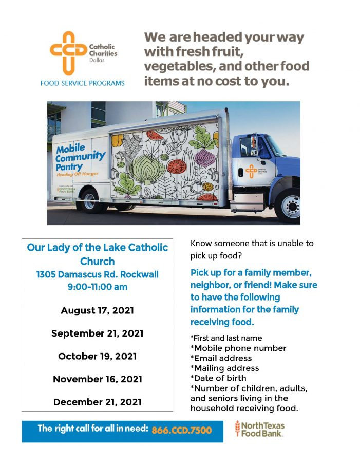 Mobile food pantry returns to Our Lady of the Lake Catholic Church RockwallAug. 17