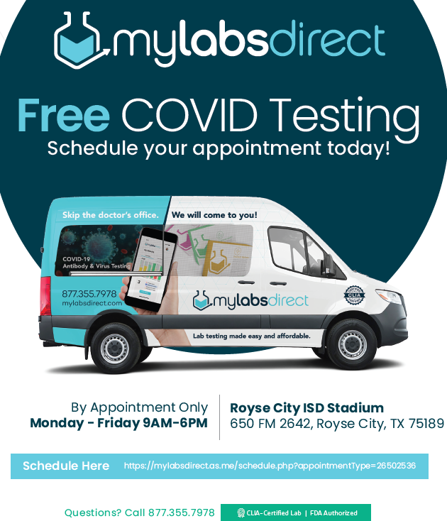 Rockwall County Emergency Management partners with Royse City ISD and My Labs Direct to provide FREE COVID-19 testing