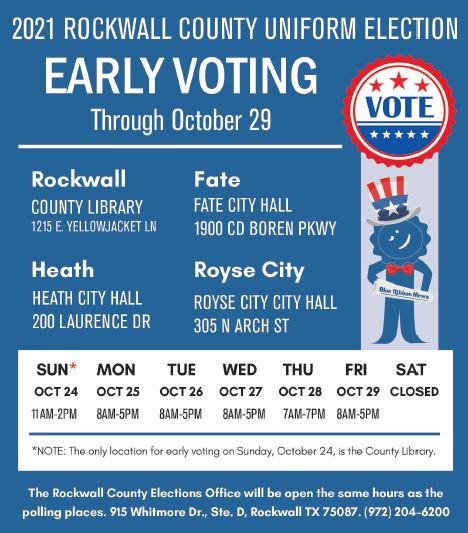 Rockwall County early voting and election day locations, schedule