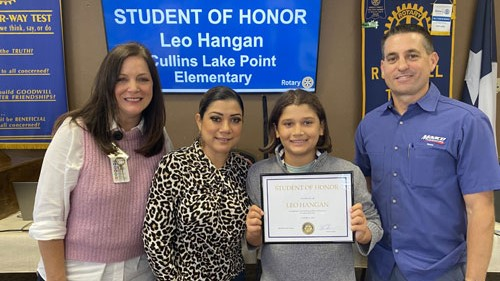 Rockwall Rotary names Leo Hangan as Student of Honor from Cullins-Lake Pointe Elementary
